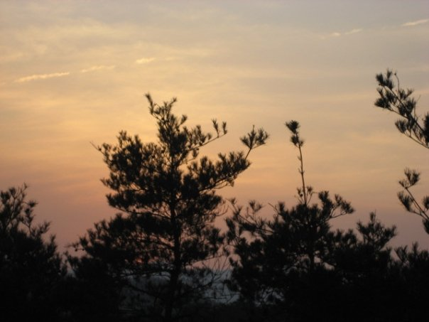 The sun sets over Unjusa, an isolated mountain temple outside of Gwangju.