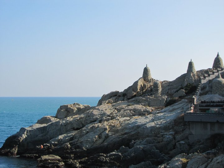 A dramatic view of the temple and its ocean view