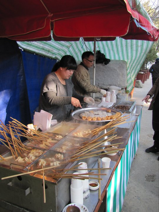 Odeng, tapbokki, and twigim on offer for hungry pilgrims