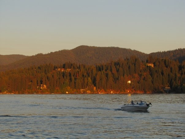 The sun sets over Lake Coeur D'Alene in northern Idaho