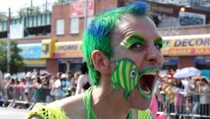 Face painted man at the Coney Island Mermaid Parade