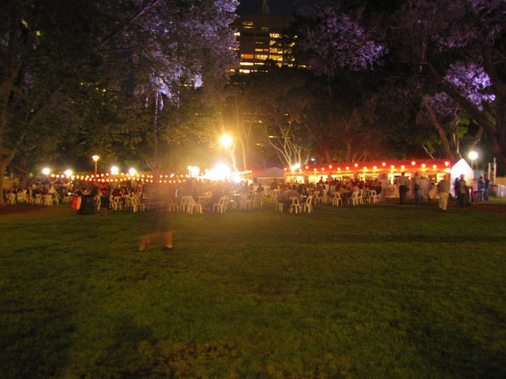 Hyde Park all lit up for the Night Noodle Markets