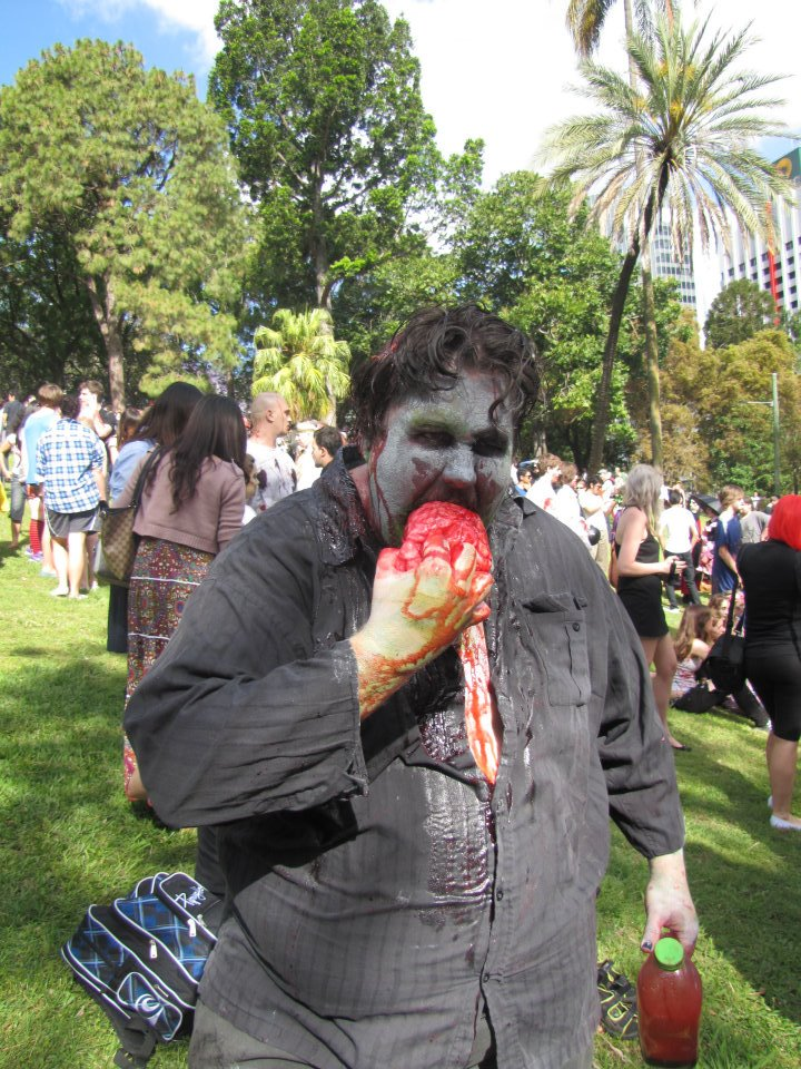 A zombie eating brains