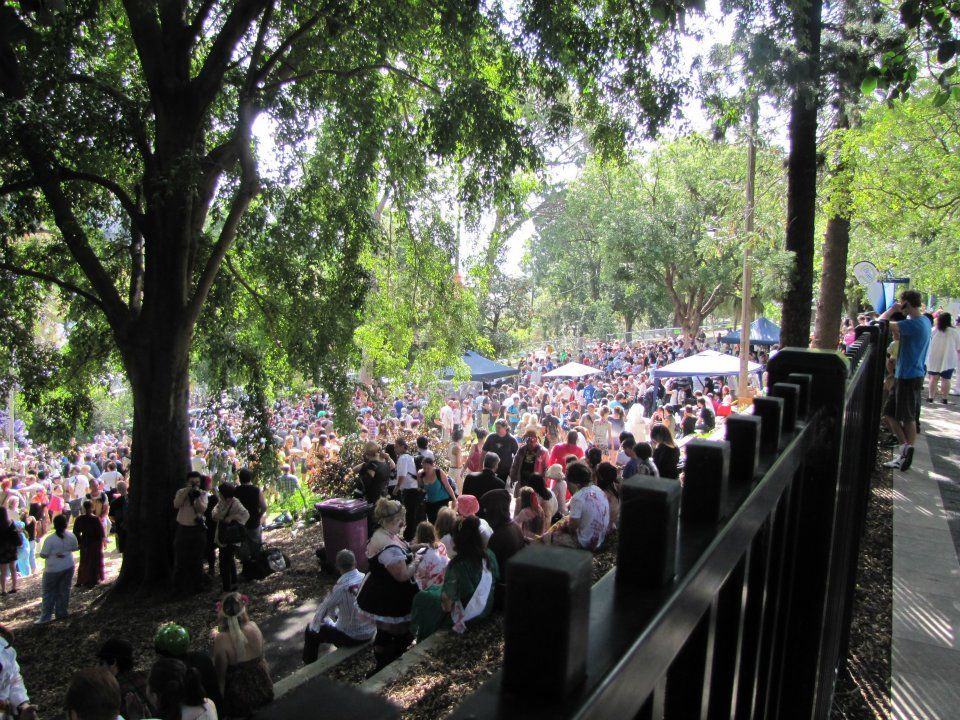 Wickham Park in Brisbane packed full of zombies