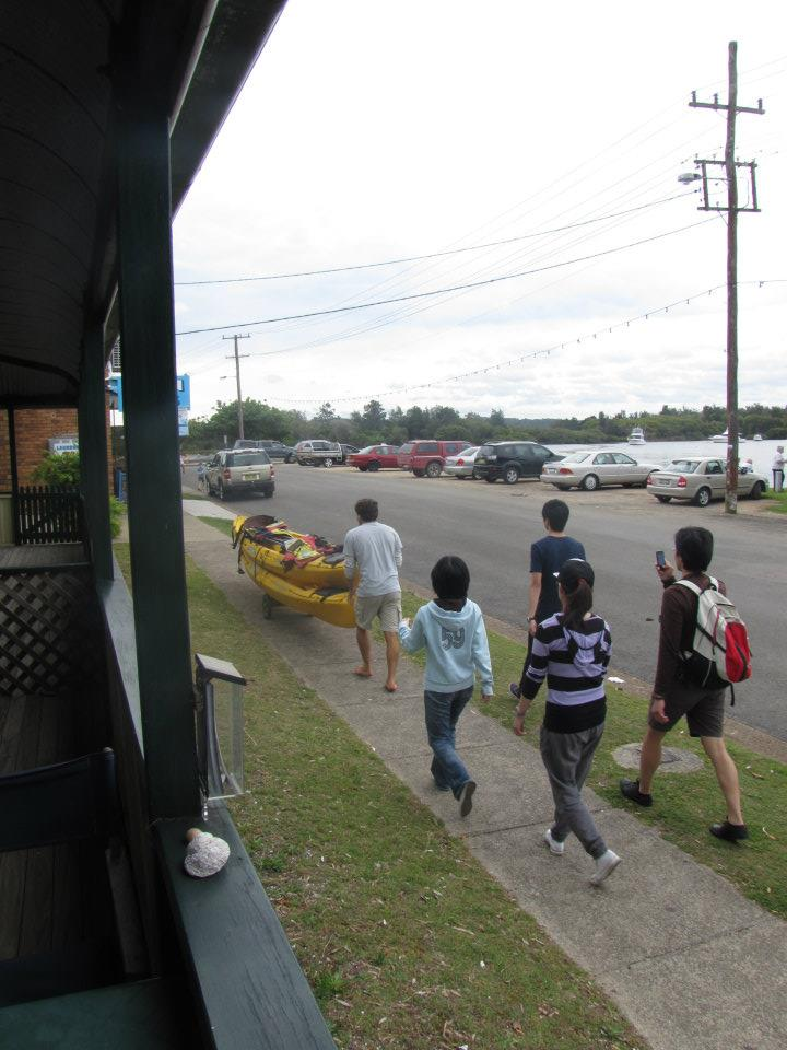 Some tourists heading out for kayaking