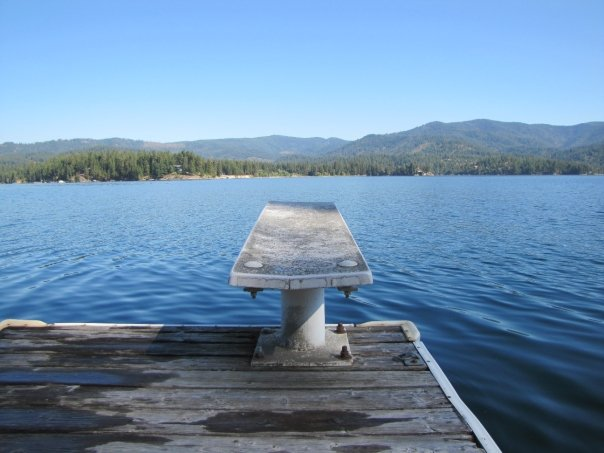 The diving board out over Hayden Lake