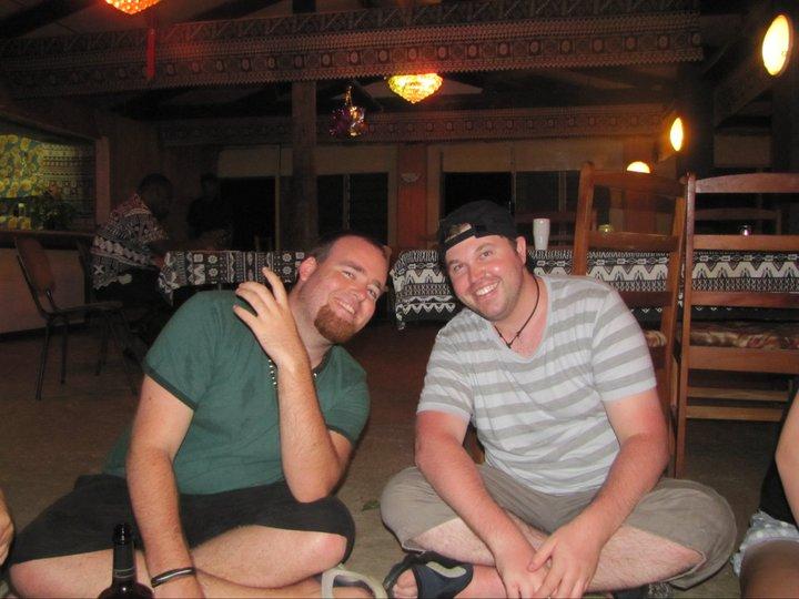 Grant and I drinking kava in Fiji