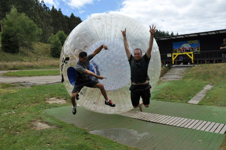 Jumping for joy after my first Zorb experience