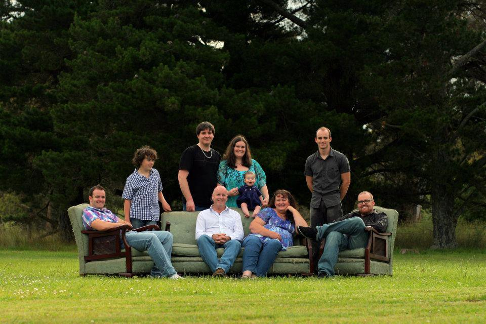The family and I back together for a family photo on our property