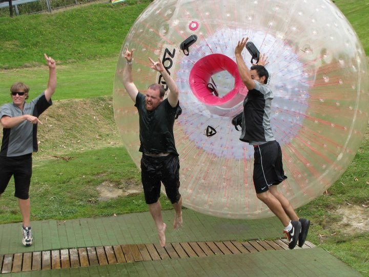 My post zorb leap of excitement after trying it in Rotorua, New Zealand.