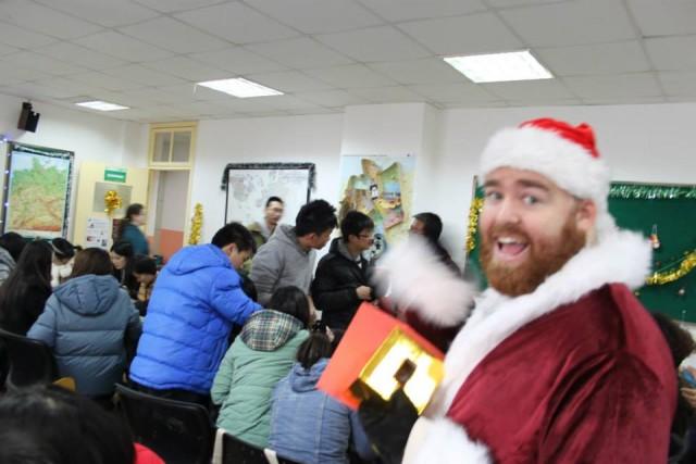 Playing Santa at a Christmas Party in China in 2013.